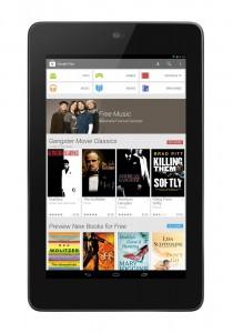 Der neue Look des Google Play Store auf einem Tablet